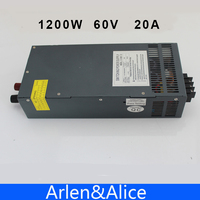 1200W 60V 20A adjustable 110V or 220V input Single Output Switching power supply for LED Strip light AC to DC