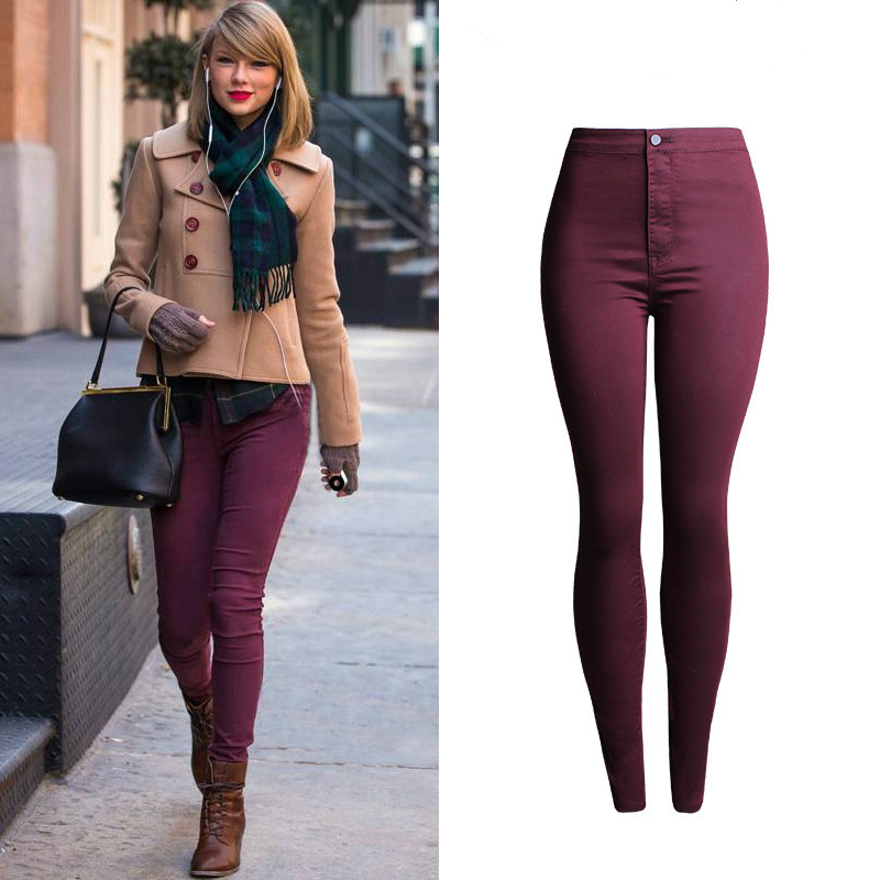 High Waist Jeans Women High Quality Elasticity Skinny Jeans Mujer Push Up Pencil Pants Pantalon Femme Red Wine Jeans Feminino Oh fashion stretchy plus size black faux leather pants skinny high waist jeans women pantalon cuero mujer pantalon cuir femme