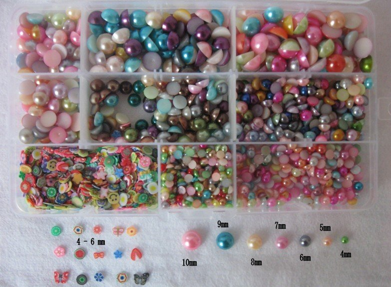Free Shipping 2400pcs/box COLORFUL MIX SIZE pearls,DIY flowers/fruits,DIY crafts,scrapbooking,card making,decorative flowers kit