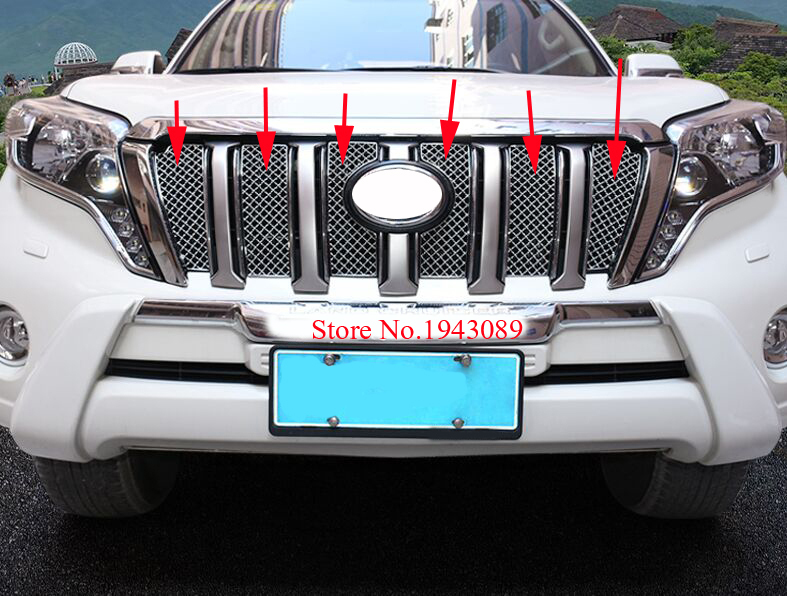 2016 Stainless Steel Front Grille Trims For Toyota Land Cruiser Prado LC150 Accessories 2010-2017 stainless steel front bottom center grille grill mesh cover trims for nissan altima teana 2013 2014
