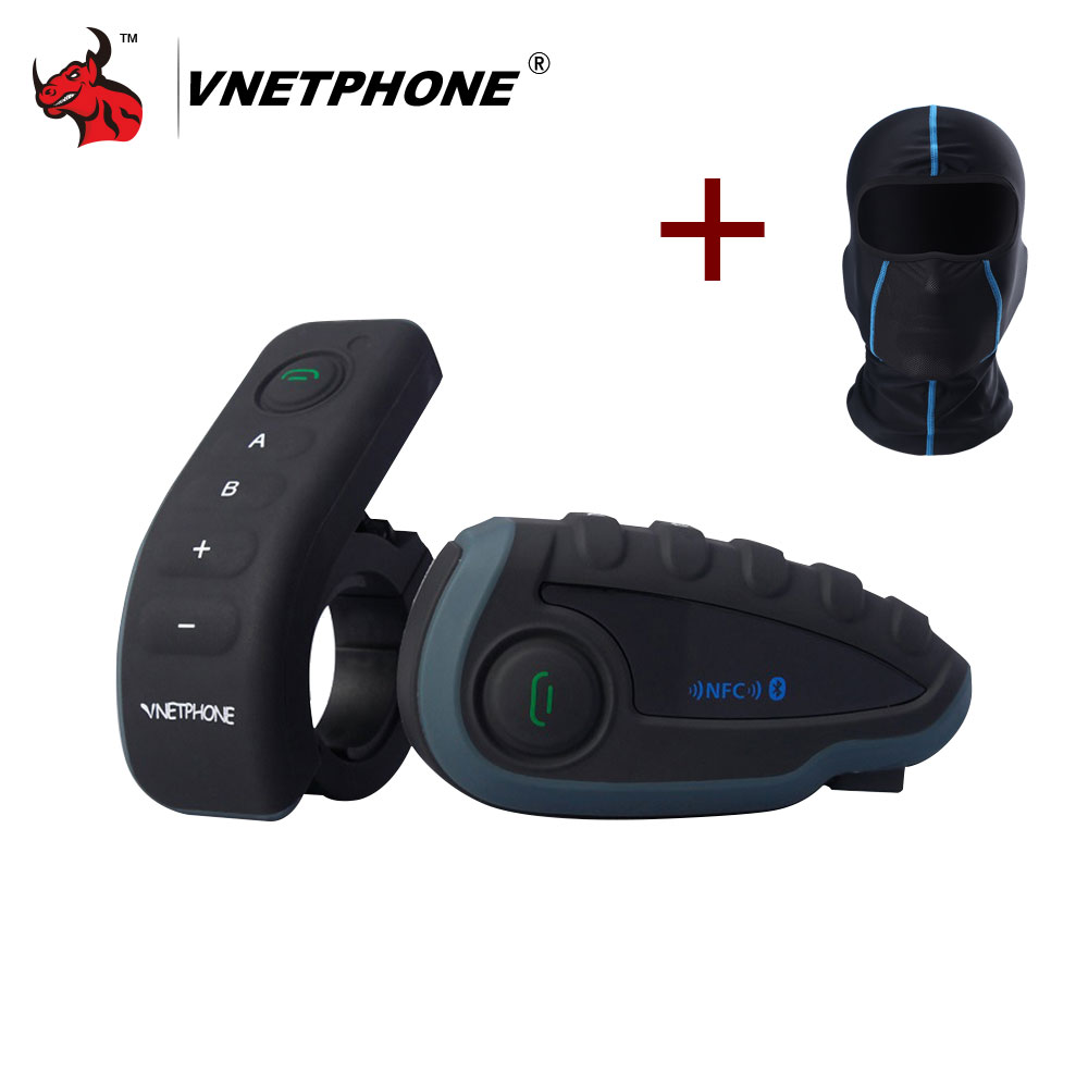 VNETPHONE V8 1200M Bluetooth Intercom Motorcycle Helmet Interphone Headset NFC Remote Control Full Duplex+FM Including One Mask 2pc freedconn t comvb 800m motobike wireless bt interphone earphones full duplex motocycle bluetooth helmet intercom headset fm