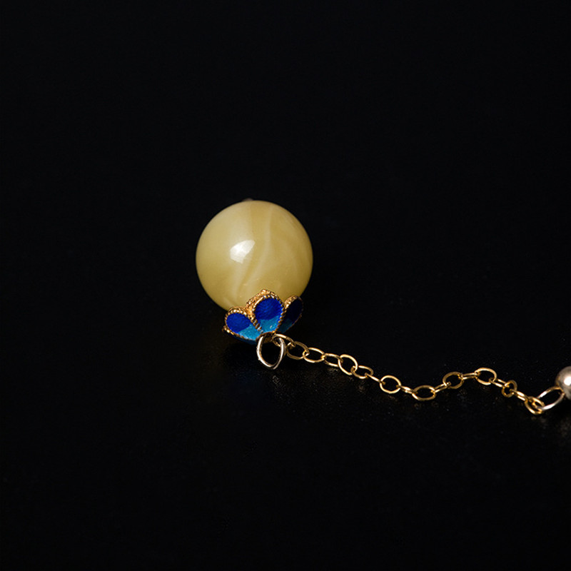 Uglyless 14K or émail boules Vintage Palace boucles d'oreilles pour femmes luxe ambre boules balancent boucles d'oreilles exotiques longues boucles d'oreilles ethnique - 3