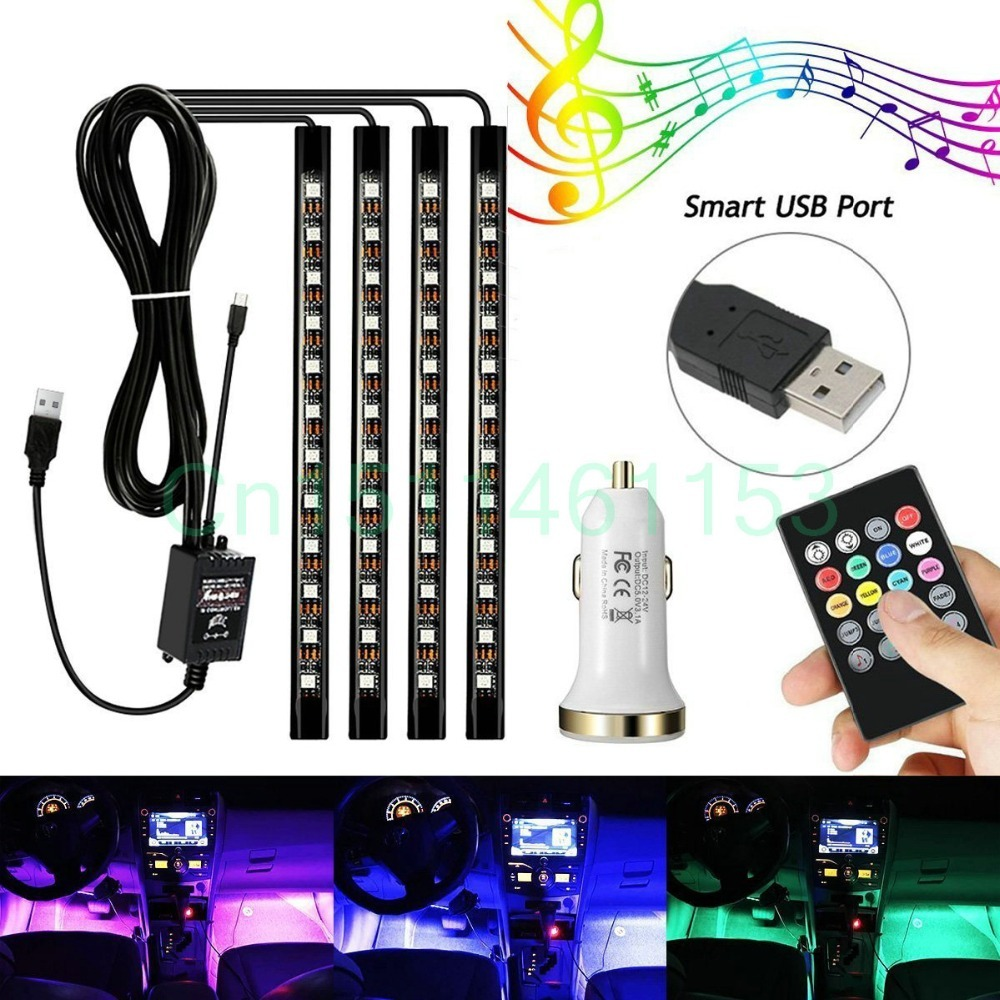 4Pcs 48 LEDs Car Interior Atmosphere Decorative Lighting Kit, Multi Color With Sound Active Function Wireless Remote Control