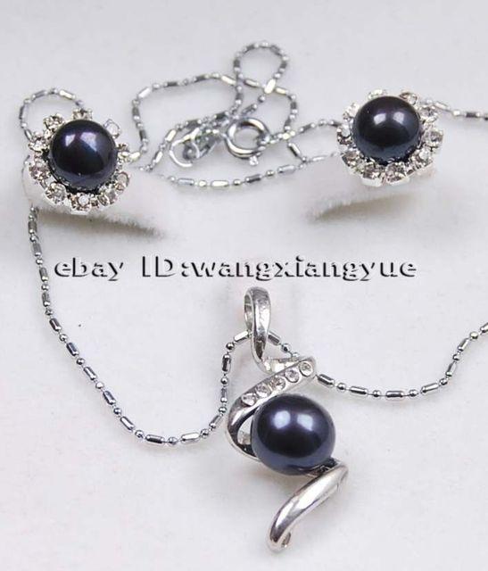 8c9f32ec586c Negro perlas Cultivadas de akoya Pendientes Colgante Del Collar   18 K GP