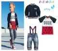 New 2015 baby boys brand clothing set kids clothes jacket coat + Letter stars t shirt+ jeans pants 3pcs boy suit spring autumn