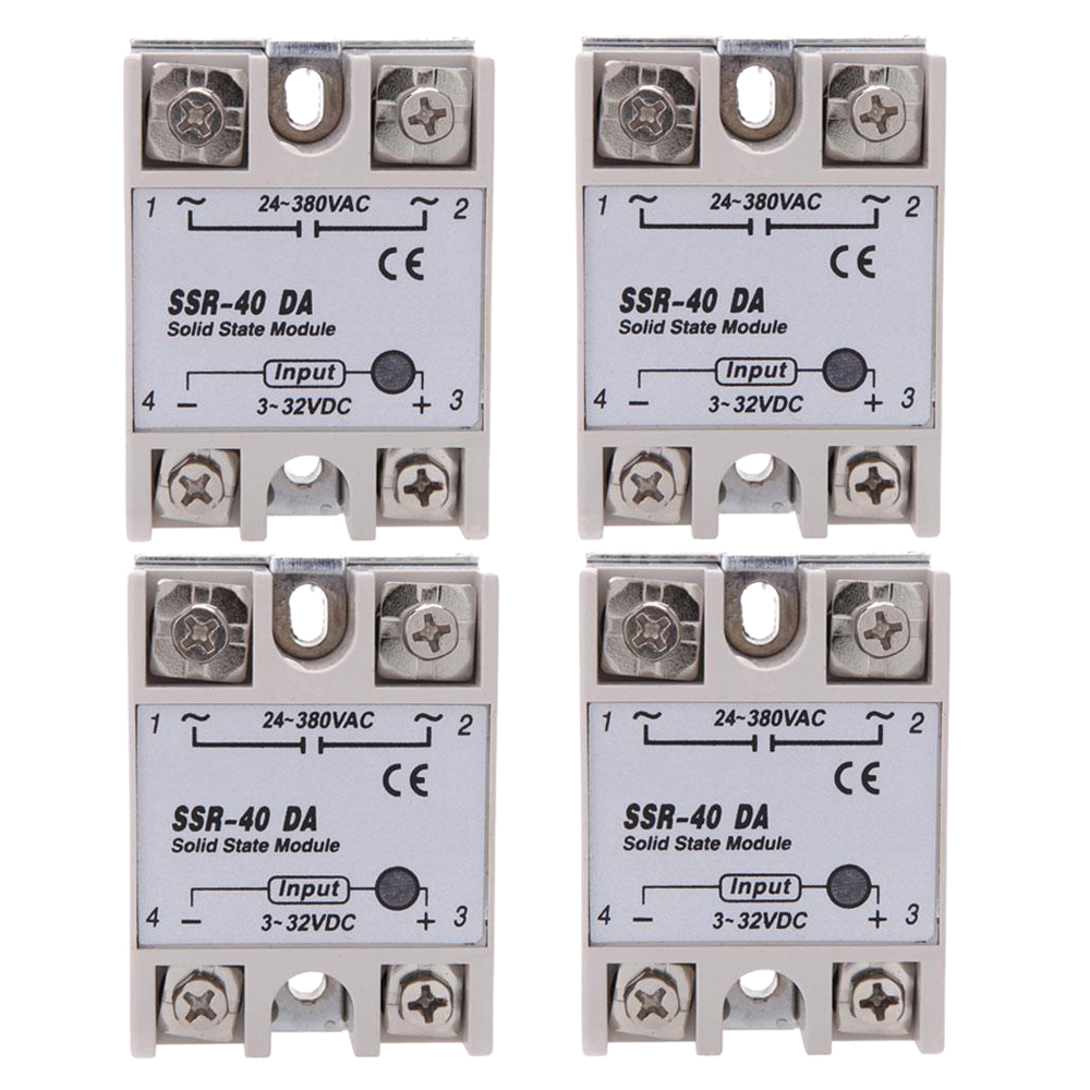 4x 24V-380V 40A SSR-40 DA Solid State Relay Module for Temperature Controller White set of pid digital temperature thermostat regulator controller rex c100 with ssr output thermocouple k solid state relay ssr 40a