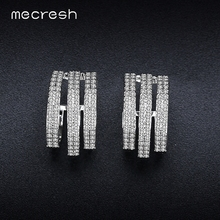 Mecresh Vivid 3 Row Stud Earrings for Women CZ Full Paved Brincos Silver Color Fashion Wedding Party Jewelry MEH903