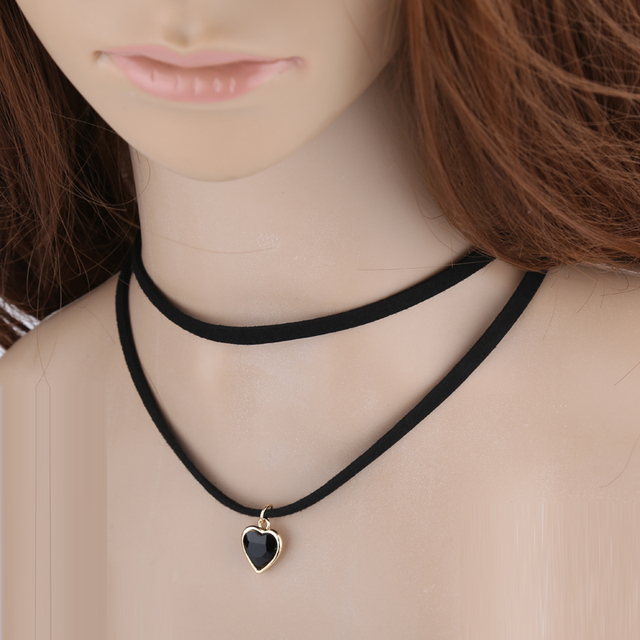 740feb49a86 Chokers new design Black Velvet Choker Necklace crystal pendant love Women  mom gift xuben jewelry