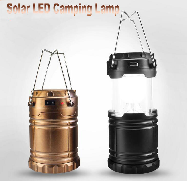 outdoor LED camping lamp with solar charging Portable emergency lamp USB Lantern Tent Lights Hanging Lamp gold black cover
