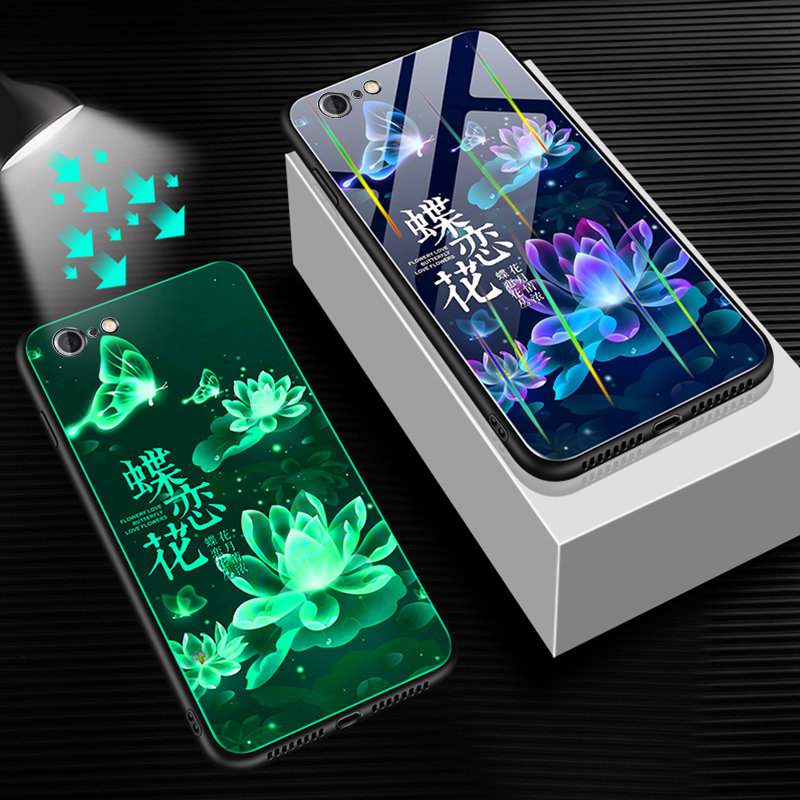 HTB1f13.USzqK1RjSZFHq6z3CpXai Luminous Tempered Glass Case For iPhone 5 5S SE 6 6S 7 8 Plus Case Back Cover For iPhone X XR XS 11 Pro Max Case Cover Cell Bag