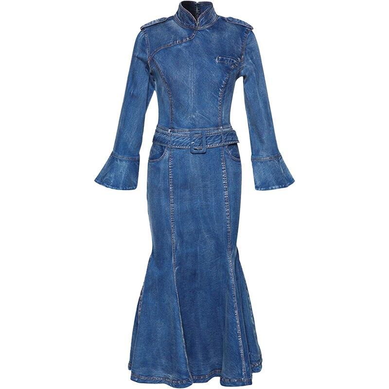 7c4af5788c7e Vestiti Modo Denim Basamento Manicotto Autunno Vestito Lungo Tromba  Chiarore Sirena Metà Collare Polpaccio Di Dei Jeans 2018 Blue A Polso Del  Delle Da Donne ...