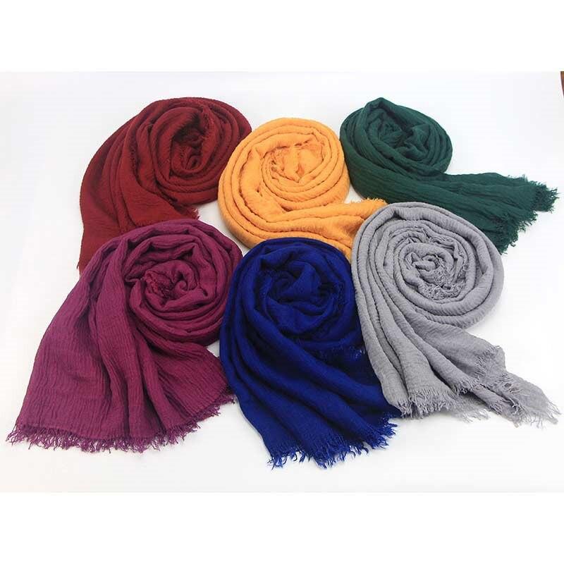 Newest Bubble Plain Cotton Scarf Women Tassel Soft Solid Popular Muffler Shawls Big Wrap Long Scarves Bohemia Style 20 Colors