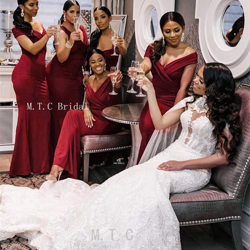 Wholesale Mermaid Simple   Bridesmaid     Dresses   Off The Shoulder Boat Neck Long Maid Of Honor Party   Dress   Cheap 2019 New Arrival