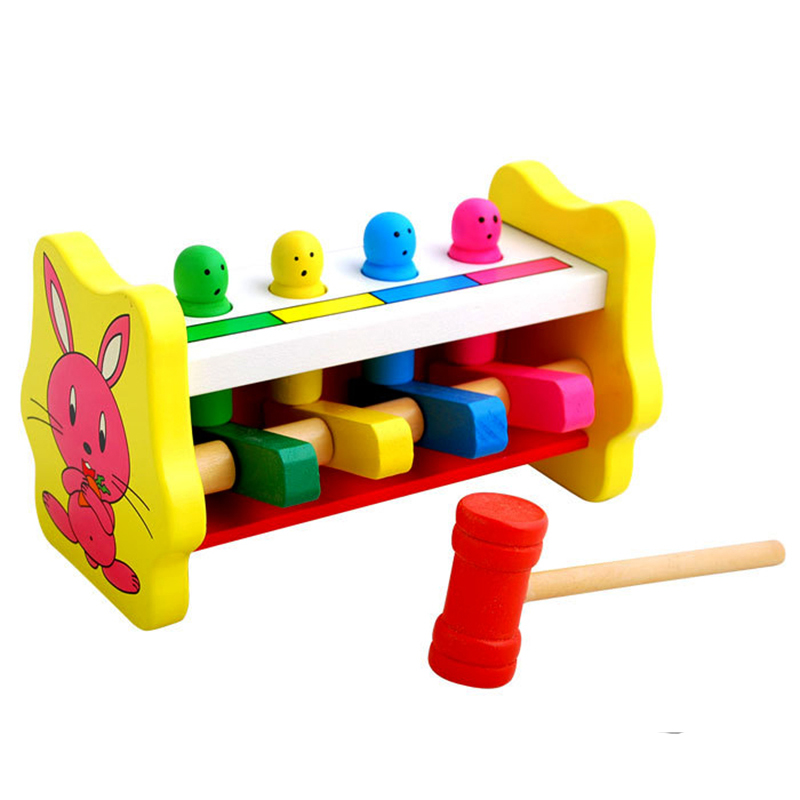 Baby Hammering Wood Knocking Toy Kids Early Educational Wooden Toys Gifts for Children Hands-on ability to train rabbits MZ18 2017 montessori education baby wood knocking ball ladder pound and roll tower kids puzzle early educational wooden toys set mz23