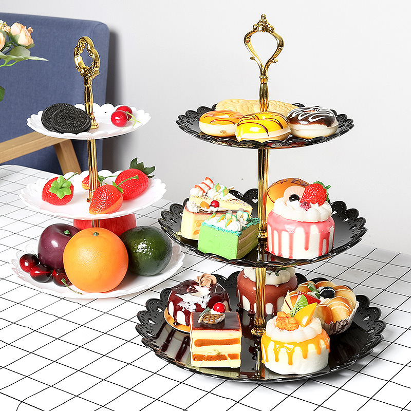 Three-layer Detachable Snack Cake Stand Fruit Rack Dessert Tray for Home Wedding Family Party