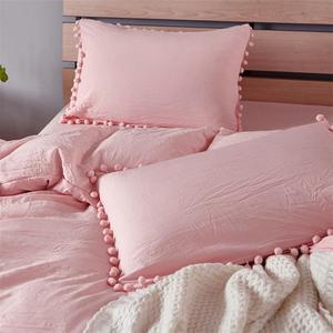 Image 3 - LOVINSUNSHINE Juego de cama de princesa rosa con tela de bola lavada, funda nórdica Queen King, funda de almohada cómoda cc44 #