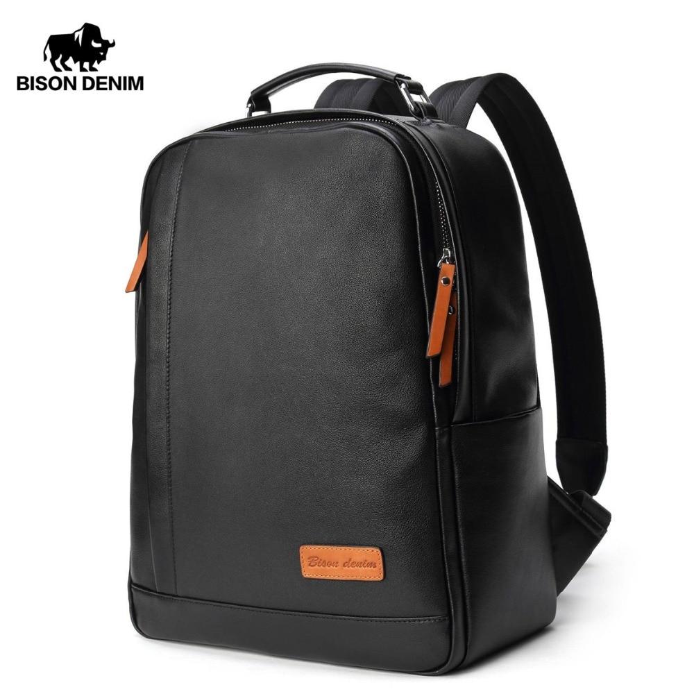BISON DENIM Fashion Leather Backpack 14 inch Laptop Backpacks For Teenager Male School Backpack Large Capacity Men N2696-1B 2018 bison denim genuine leather laptop backpack male casual backpack travel backpack male fashion backpack schoolbag for men