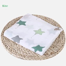 Newborn Baby Muslin Swaddle Blankets Patterned Design Swaddling Wrap Infant Elephant Star