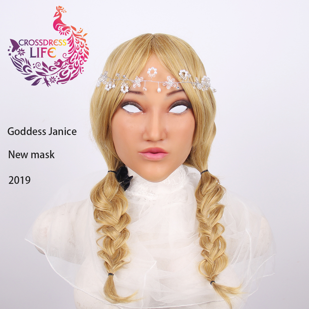 Crossdress Vie 2019 réaliste silicone femelle masque déesse Janice Halloween masque mascarade cosplay drag queen crossdresser