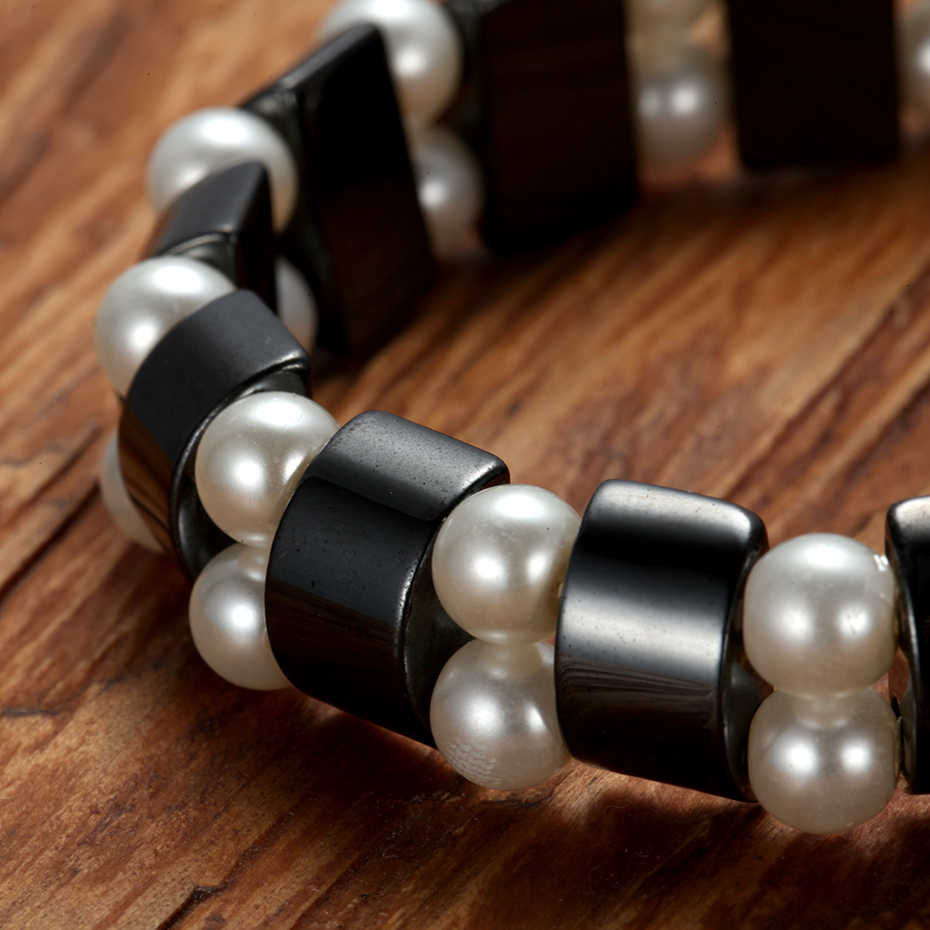 Rainso ファッション真珠ヘマタイト健康ケアマグネットブレスレット女性のための黒天然石ブレスレットジュエリードロップシッピング 2019