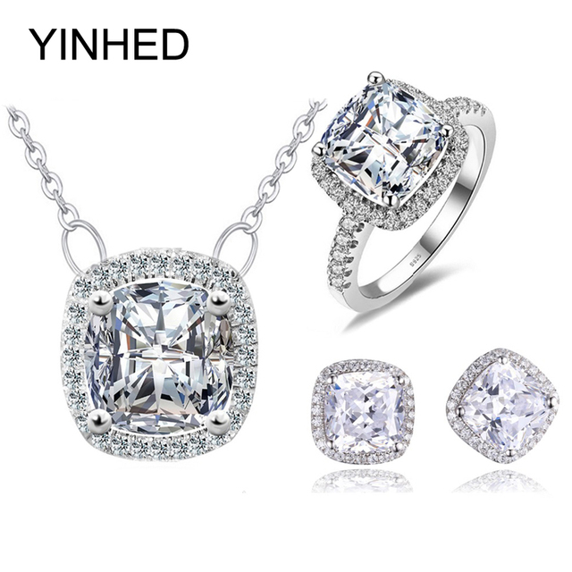 089ded5a3 YINHED Princess Cut Shining Cubic Zirconia Jewelry Set 925 Sterling Silver  Pendant Earring Ring Set Bridal Wedding Jewelry ZS052