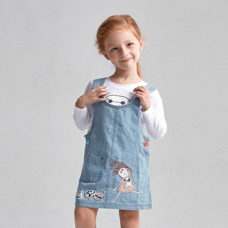 2016 Autumn Baby Girls Denim Dress Cartoon Characters Kawaii Infantil Vestidos 12 13 14 15 16 Years Old Strap Dress Jean Dress