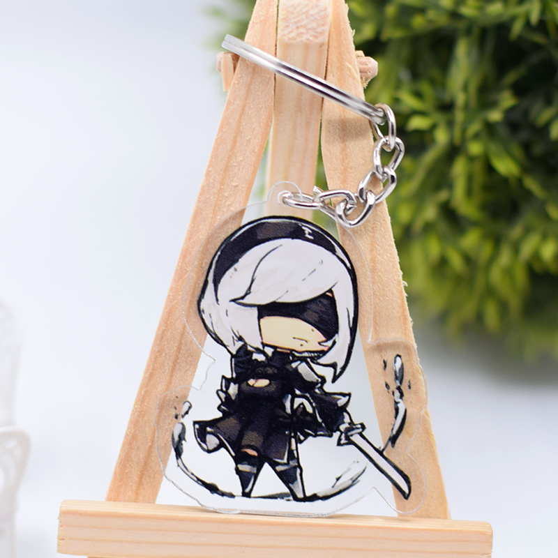 2B NieR Automata Keychain Cute Double Sided Acrylic Key Chain Pendant Anime Accessories Cartoon Key Ring DBS1P