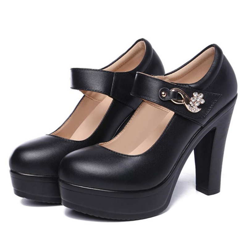 Large Size 32-43 Round Toe Dance Shoes Crystal Black Block Heels Women's Pumps Fashion New 2019 Platform Shoes High Heels Ladies