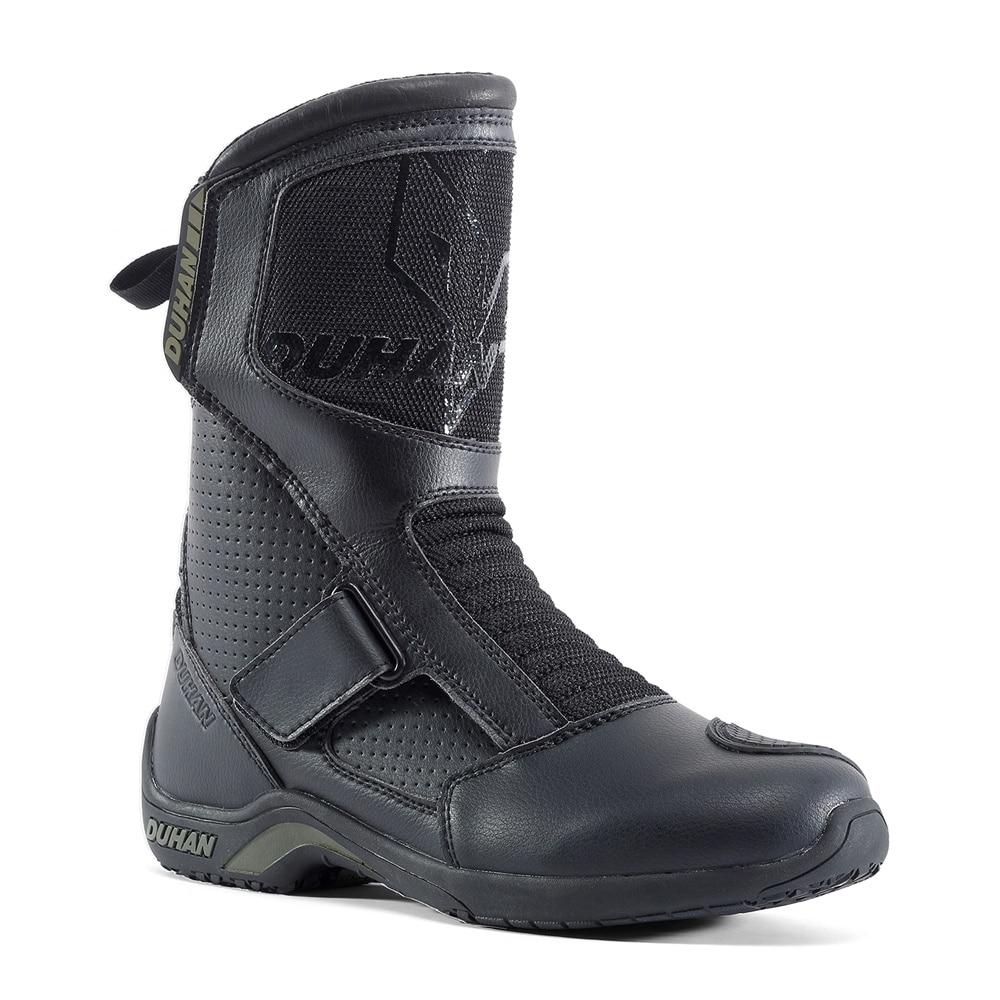 Motorcycle Boots Men Superfiber Motorcycle Road Racing Shoe Moto Motocross Boots Bota Motociclista Black