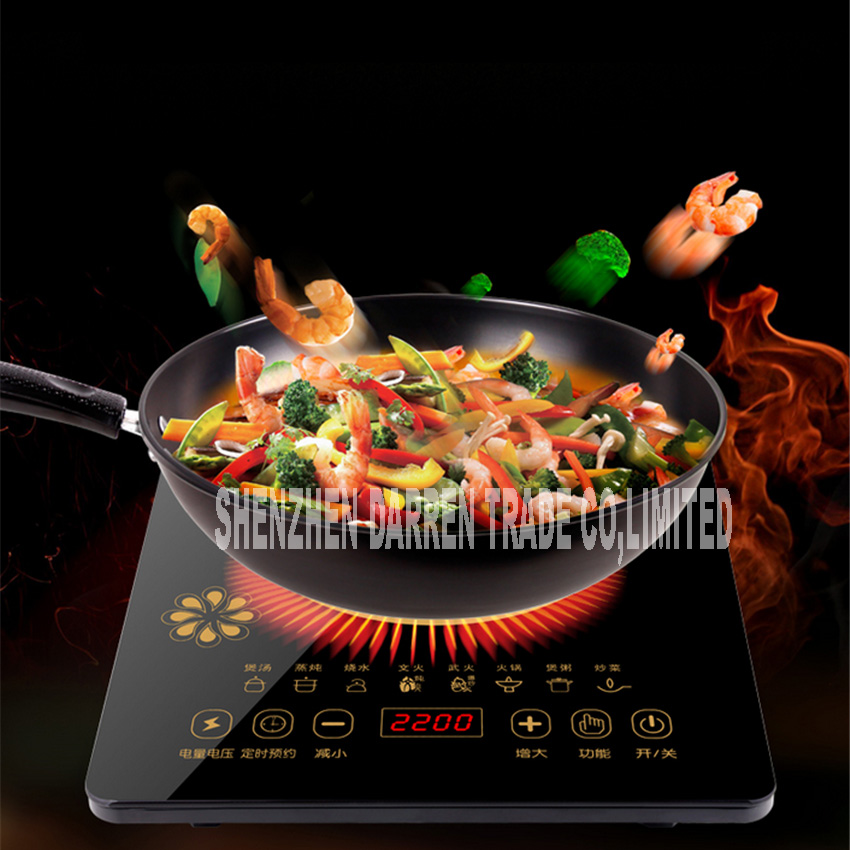 NEW ARRIVAL 220V electric magnetic induction cooker Gtchp4 2200W Household intelligent touch screen battery stove 8 file level 3 multi function touch screen reserved induction cooker