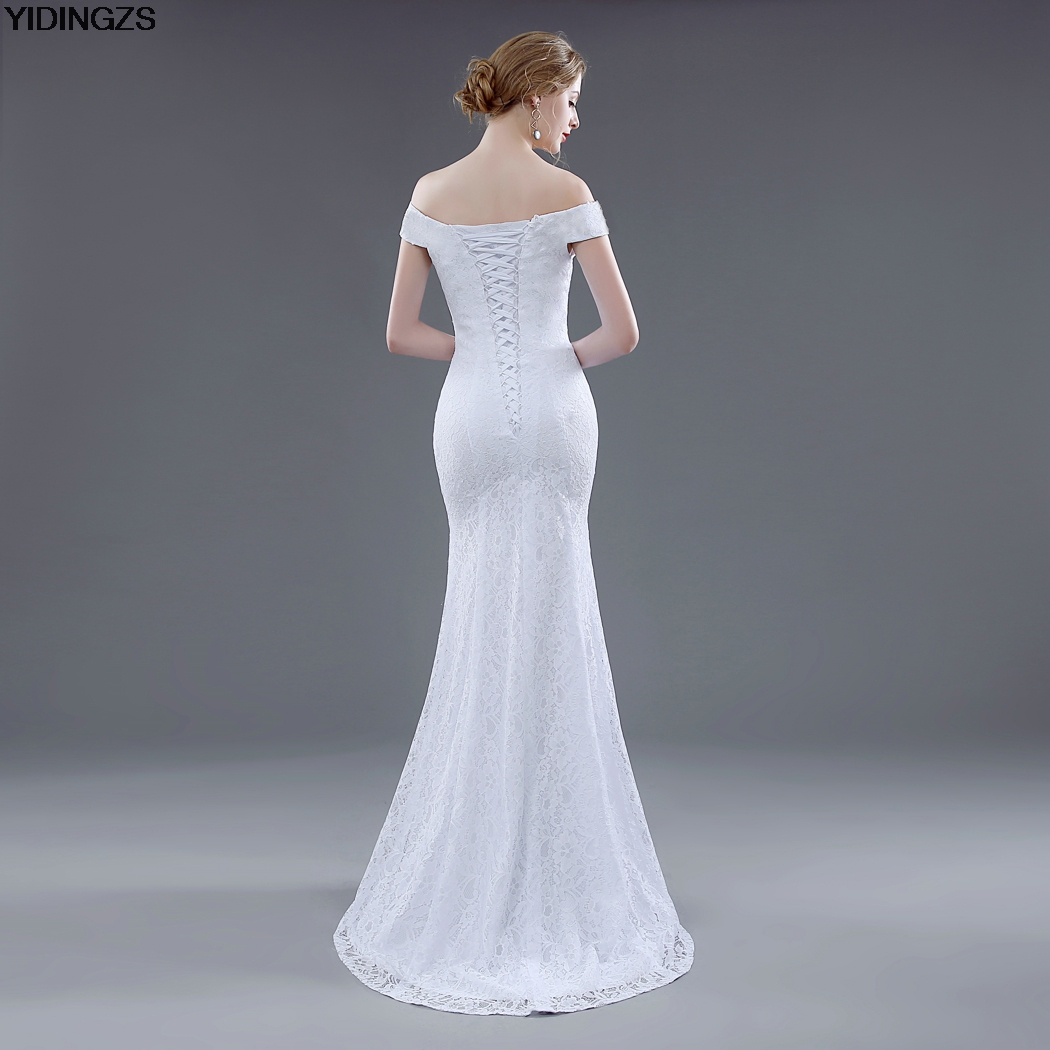 Elegant White Ivory Lace Mermaid Wedding Dress 3