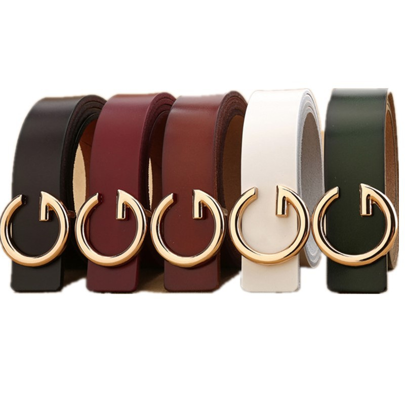 Genuine Leather Belt With 100 Sets Of Fashionable Women's Pure Copper Button Jeans G Letter Buckle Belt Red