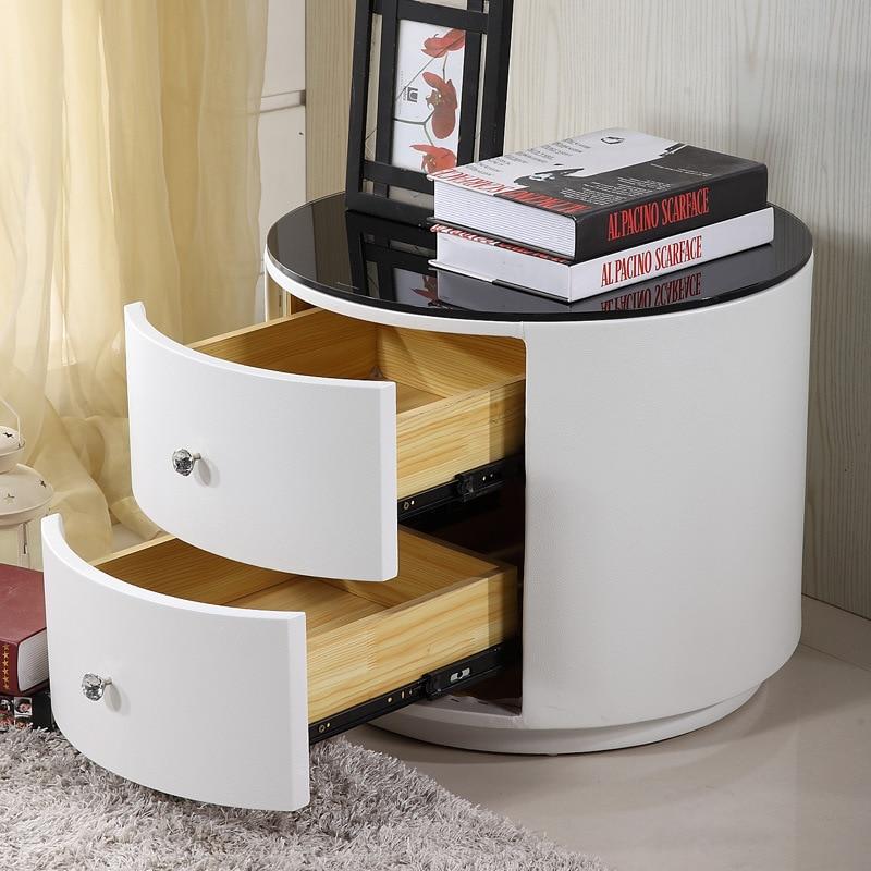 Moderne 2 tiroirs de chevet ronde fin tables pour rond Table de nuit moderne