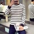 Korean Style Fashion Striped Men's T Shirt Men Long Sleeve Round Neck Slim Fit t-shirts homme Black White Casual Tees Shirt Boys