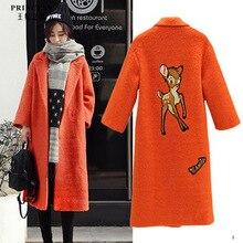 Orange embroidered wool coat 2016 autumn / winter wonen's wool coat pattern deer cashmere coat jacket long paragraph ladies coat