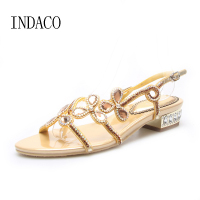 2017 Women S Summer Flat Rhinestone Sandals Sexy Hollow Out Flowers Leather Flat Sandal Rhinestone Women