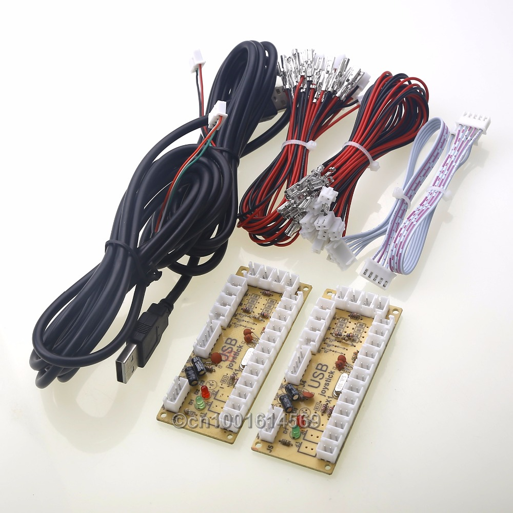 2 Joueurs Zéro Retard USB Arcade Codeur À 5 Broches Arcade Joystick + Sanwa Boutons et Sanwa Joystick Pour Retropie 3B Projet DIY
