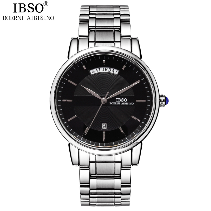 IBSO Mens Watches Top Brand Luxury Fashion Relojes Hombre 2017 Stainless Steel Quartz Watch Men Multifunction Relogio Masculino relojes hombre 2017 mens watches top brand luxury carnival simple relogio automatico masculino dress stainless steel gift clock