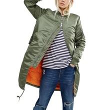 2017 Army Green Women Bomber Jacket Autumn Winter New Baseball Jacket Straight In The Long Slim Windbreaker Jacket Coat Outwears