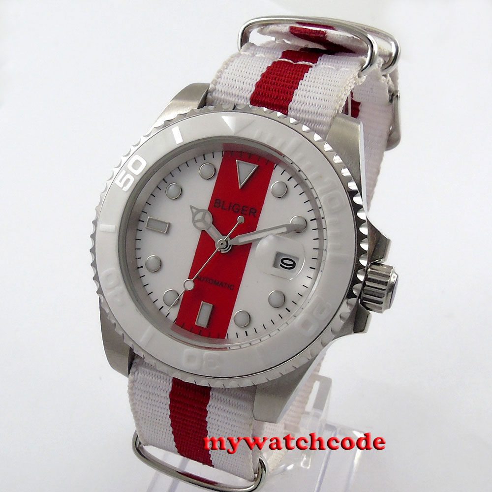 цена 40mm Bliger red & white dial date sapphire crystal automatic mens watch P151 онлайн в 2017 году
