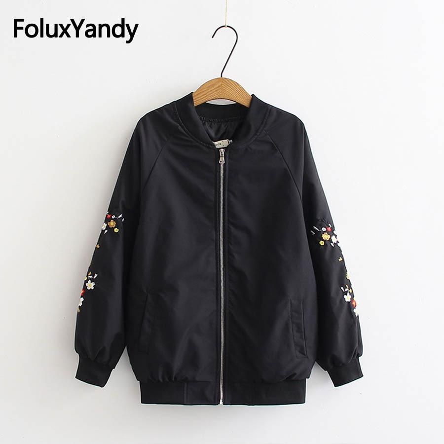 High Street Jacket Women Spring Autumn Coats Plus Size 3XL Floral Embroidery Casual Basic Jacket Outerwear KKFY2595