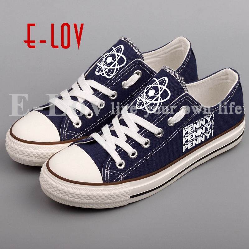 E-LOV Printed Casual Canvas Shoes Lace-up Black Walking Shoe Custom Unique Valentine Gifts For Couples e lov hand painted casual canvas shoes diy custom graffiti animals flat shoe women oxford shoes sapatos feminino