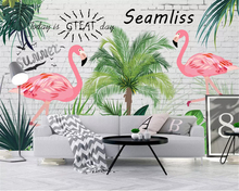 beibehang Custom size Nordic wallpaper fresh tropical rainforest banana leaf flamingo garden background wall papers home decor