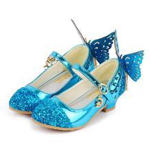 Летняя детская обувь для девочек блеск принцессы сандалии на высоком каблуке Розовый танец Свадьбы Дети Мода бабочка Кристалл Вечерние
