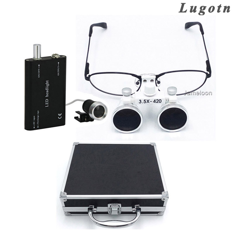 Metal box 3.5X times near sighted removable glass shortsighted ENT throat operation magnifier dental loupe led enlarger medical instrumentation head ent checker otoscope eye ophthalmoscope ear throat dental inspection ophthalmoscope vocal cord set