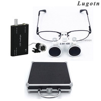 Metal box 3.5X times near sighted removable glass shortsighted ENT throat operation magnifier dental loupe led enlarger