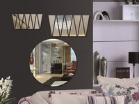 New style of Sunshine wall mirror sticker for TV backing bedroom living bookroom home deco , 3D DIY Crystal Wall Sticker