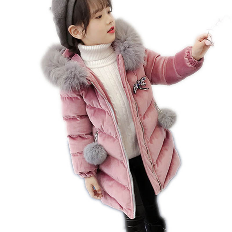 2018 New Children Kids Winter Down Girls Thick Warm Down Jackets Girls Long Fur Hooded Outerwear Coats Kids Jacket Outerwear M62