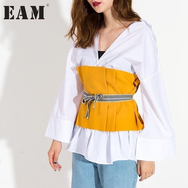[EAM] 2017 хит цвет желтый черный раза жатый вне носить ремень завернутый груди жилет Универсальная Женская мода прилив J13901