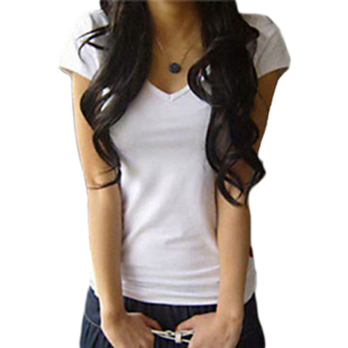 Hot Sale Promotion Women's V-neck Short Sleeve T-Shirt Cotton Big Size 8 Colors Slim B041